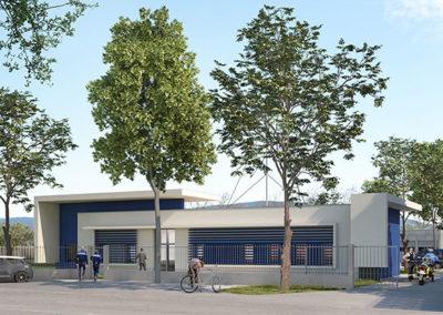 Perspective vue de l'entrée de la gendarmerie de Meysse